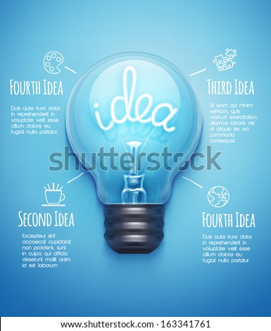 Creative design template with light bulb - stock vector