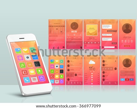 Creative different UI, UX and GUI layout for responsive e-commerce and mobile apps including Calendar, Music Player, Messaging, Calling, Menu, Weather and login screens. - stock vector