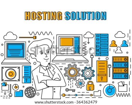 Creative doodle design illustration of Hosting Solution, Server Management and Data Exchange.Line style illustration for Web Banner, Printed or Promotional Materials. - stock vector
