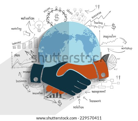 Creative drawing chart and graphs business plan success idea on globe, Handshake business finance world concept modern design template workflow layout, diagram, step up options, Vector illustration - stock vector
