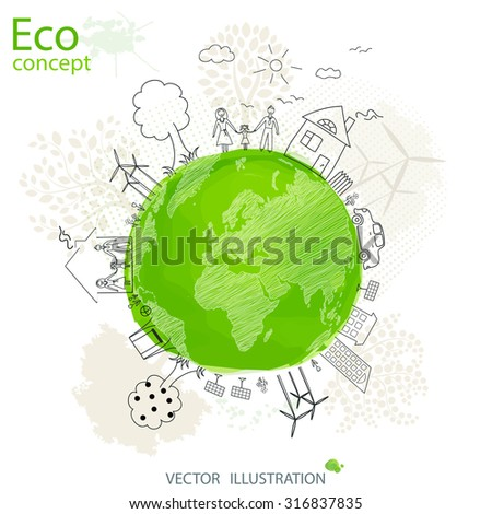 Creative drawing world map global ecological concepts, with happy family stories concept idea, Vector illustration