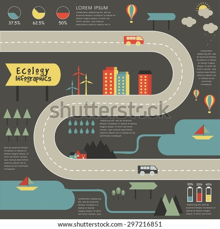 Creative ecological infographic elements with illustration of urban city buildings, roads and vehicles, and wind mill on grey background. - stock vector
