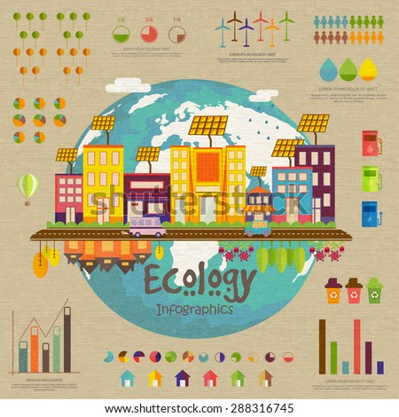 Creative ecology infographic template layout with view of a urban city and various statistical elements. - stock vector