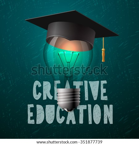 Creative education design, light bulb with mortarboard, vector illustration.