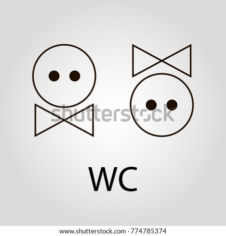 Creative Emoji Faces WC Or Toilet Isolated Flat Vector Icon