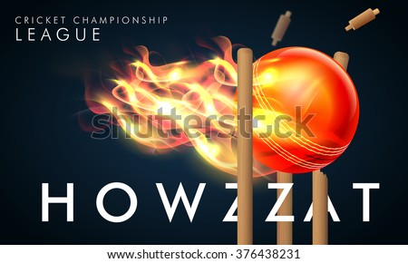 Creative fiery ball hit the wicket stumps with stylish text Howzzat for Cricket Championship League concept. - stock vector