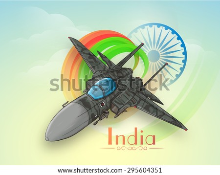 Creative fighter plane making national flag colors in the sky with Ashoka Wheel on cloudy background for Indian Independence Day celebration. - stock vector