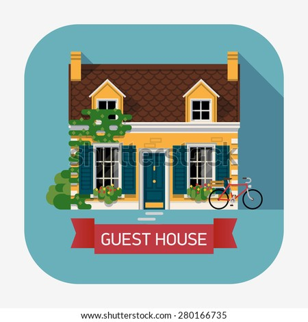 Creative flat design web icon on countryside lodging and accommodation with beautiful detailed guest house building with ivy wall, blue window shutters and bicycle - stock vector