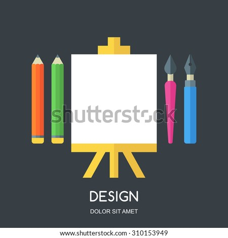 Creative flat illustration of tools and art supplies for design, drawing, painting. Vector icon set of pen, pencil, brush, white blank sheet of paper on easel. Elements for stationery, school. - stock vector