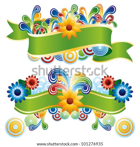 Creative floral banners - stock vector