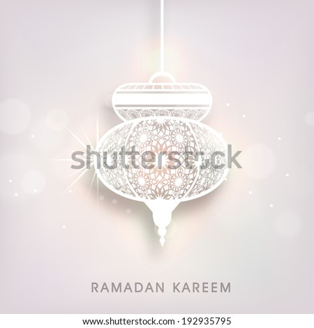 Creative floral decorate arabic lamp or lantern on shiny grey background, beautiful greeting card design for holy month of Ramadan Kareem. - stock vector