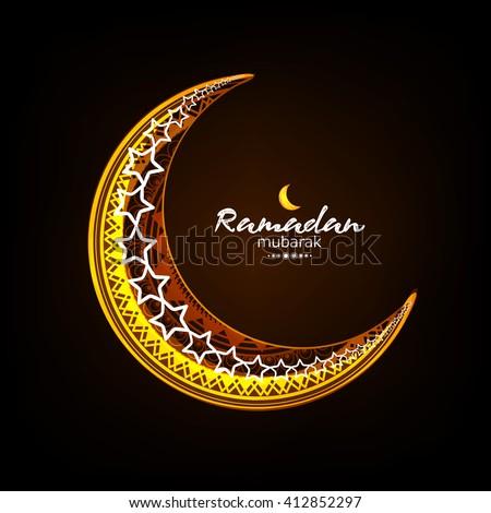 Creative floral decorated shiny moon wallpaper design for Islamic Festival Ramadan Kareem.