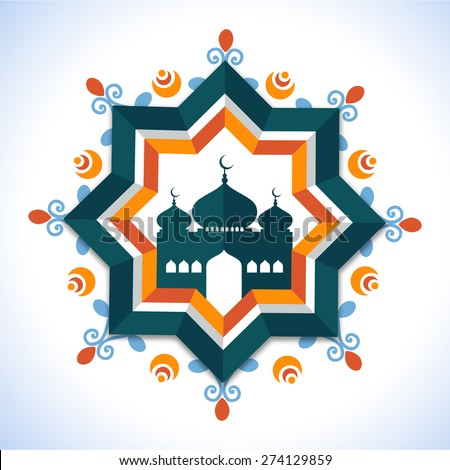 Creative floral design decorated frame with mosque for holy month of Muslim community, Ramadan Kareem celebration. - stock vector