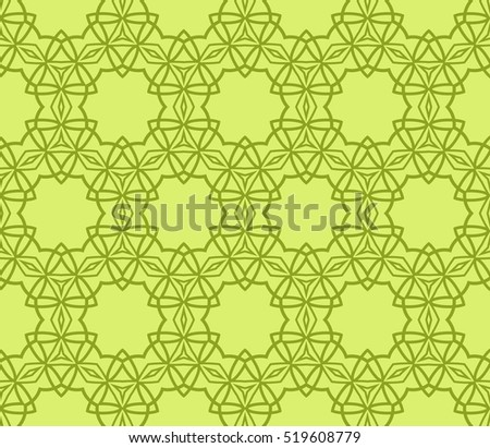 creative floral geometric ornament. seamless vector pattern. green color. for decoration, wallpaper, presentation, fashion design.