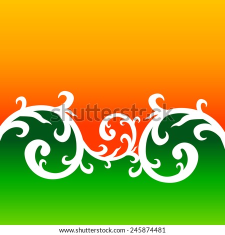 creative floral style background with indian flag colors - stock vector