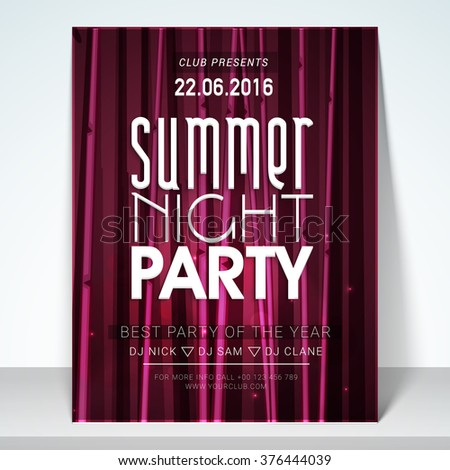 Creative Flyer, Banner or Template design for Summer Night Party celebration. - stock vector