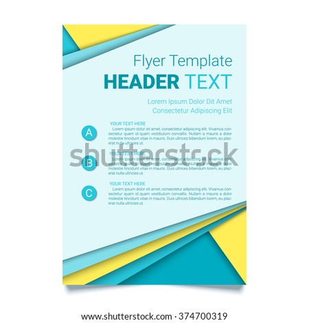Creative flyer vector template. Modern poster, brochure business template in a material design style. Vector illustration