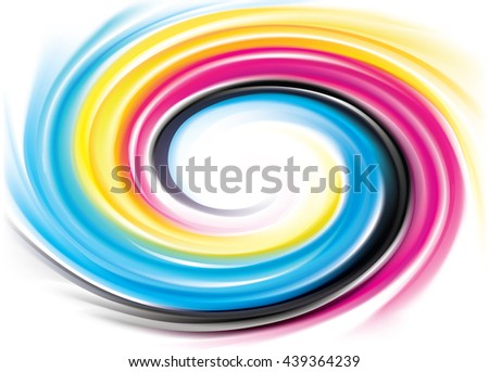 Creative fusion eddy pattern of vivid primary dye gamma full-color printout technology process. Glossy curvy spraying ripple disk. Closeup view with space for text in glowing center - stock vector