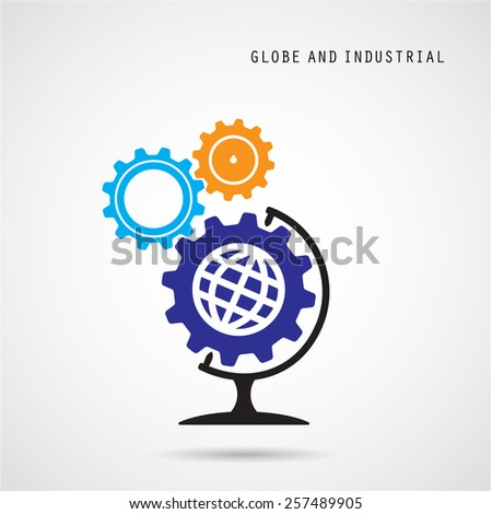 Creative gear abstract vector logo design and globe sign. Corporate business industrial creative logotype symbol.Vector illustration - stock vector