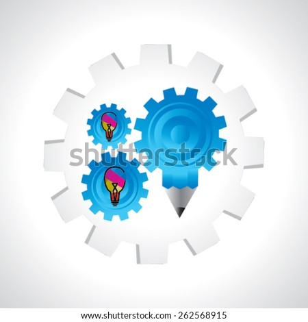 creative gear over colorful bulb idea concept  - stock vector