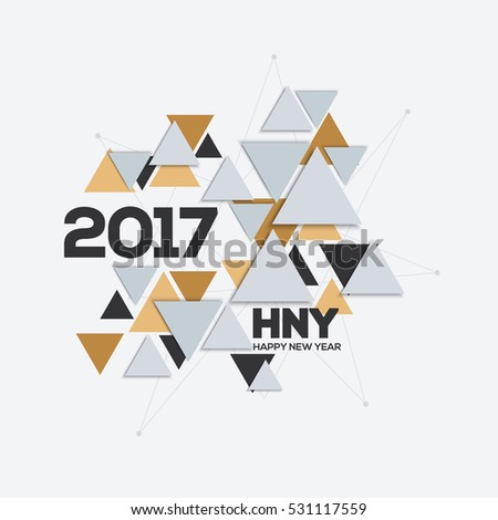 Creative geometric design for your greetings card, Happy New Year 2017. Triangles background for canvas print, decoration, banner, advertising, Headers, etc. Vector illustration