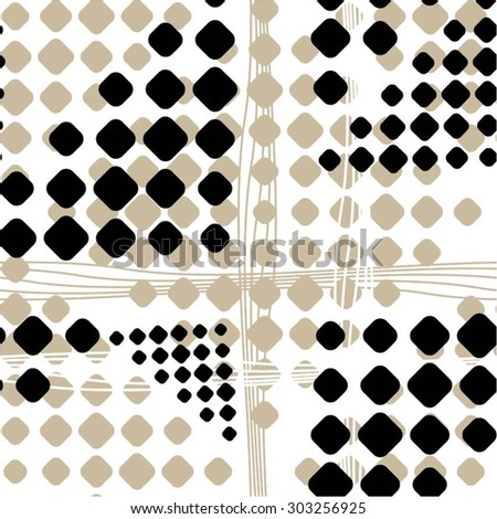 Creative geometric pattern of rounded squares and lines, seamless vector background. - stock vector
