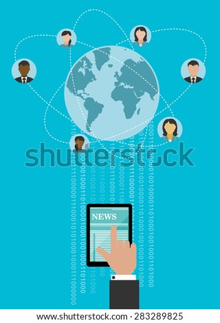 Creative global networking concept design with human hand using tablet computer for connecting people around the globe with binary digits - stock vector