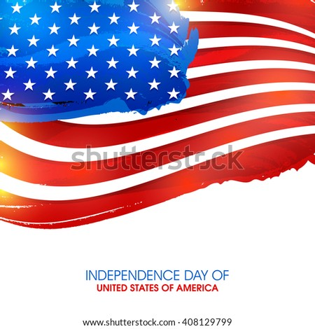 Creative glossy American National Flag color background for 4th of July, Independence Day celebration. - stock vector