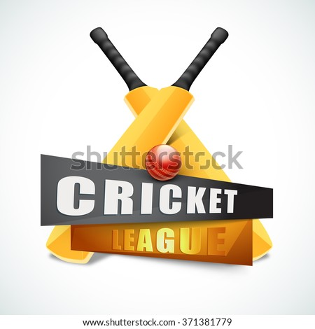 Creative glossy Bats with red Ball for Cricket League concept. - stock vector