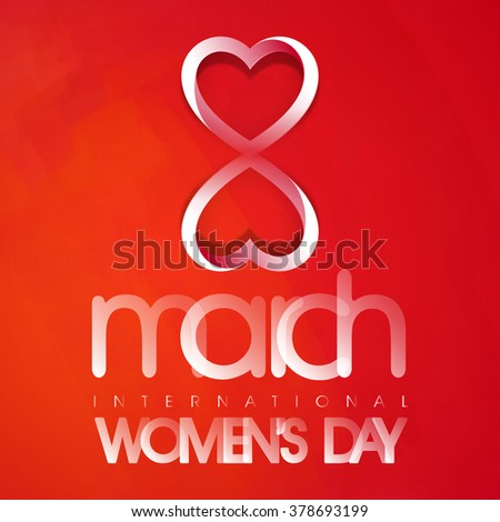 Creative glossy text 8 March, International Women's Day on shiny red background. - stock vector