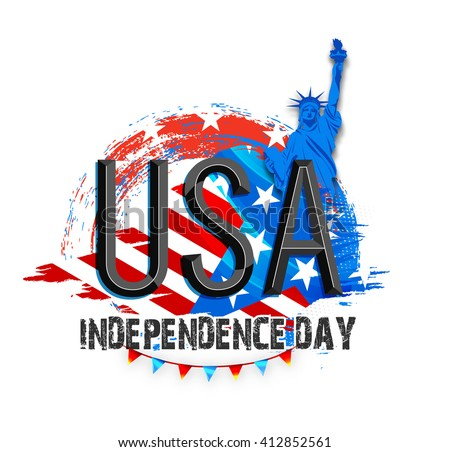 Creative glossy text U.S.A on Statue of Liberty and Flag colors background for American Independence Day celebration. - stock vector
