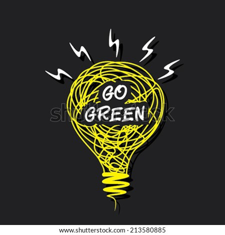 creative 'go green' word concept on sketch bulb design vector - stock vector