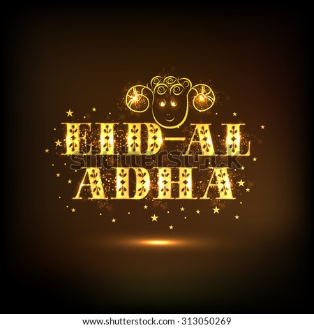 Creative golden text Eid-Al-Adha with sheep face on stars decorated shiny brown background for Islamic Festival of Sacrifice celebration.  - stock vector