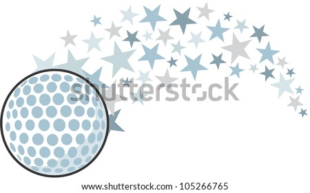 Creative Golf Ball Illustration hitting like a golf professional star - stock vector