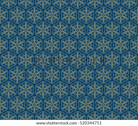 creative gothic floral geometric ornament. seamless vector pattern. blue and gold color. for decoration, wallpaper, presentation, fashion design.