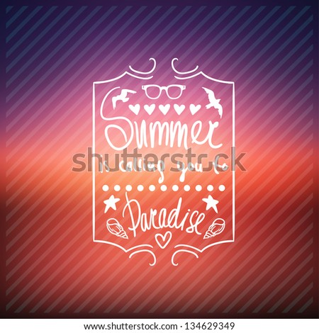 creative graphic poster for your design. summer  emblems. Vector summer  icons - stock vector