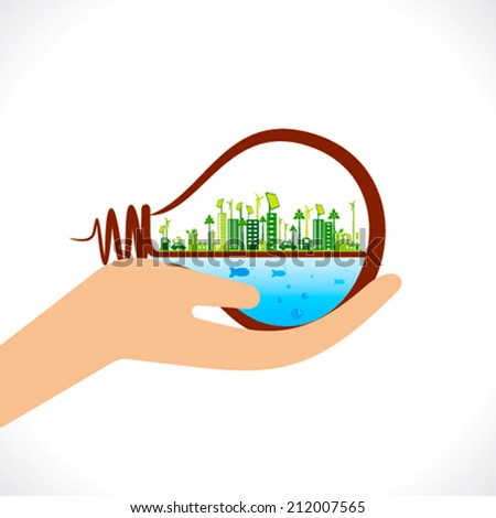 creative green city or eco city in bulb concept vector - stock vector