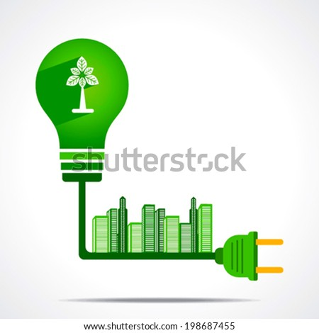 creative green energy generate from plant give green city concept vector - stock vector