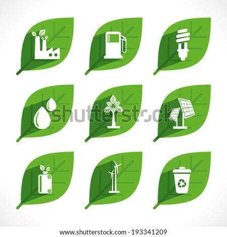 creative green energy or eco icon design concept vector - stock vector