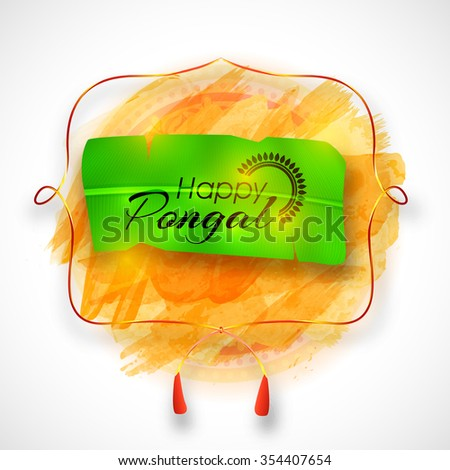 Creative greeting card design stylish text stock vector 354407654 creative greeting card design with stylish text happy pongal on banana leaf for south indian harvesting m4hsunfo
