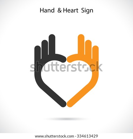 Creative hand and heart shape abstract logo design.Hand Ok symbol icon.Corporate business creative logotype symbol.Vector illustration - stock vector