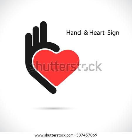 Creative hand and heart shape abstract logo design.Hand Ok symbol icon.Corporate business creative logotype symbol.Vector illustration - stock vector