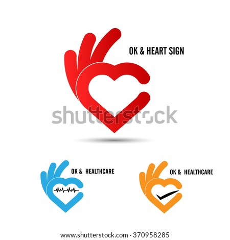 Creative hand and heart shape abstract logo design.Hand OK symbol icon.Healthcare and medical icon. Happy Valentines day symbol.Vector illustration - stock vector