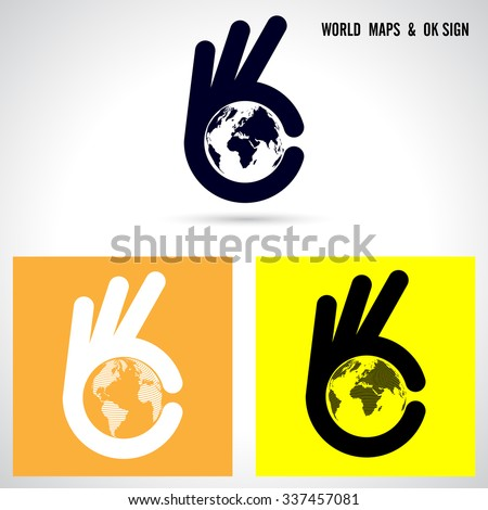 Creative hand and world map abstract logo design.Hand Ok symbol icon.Corporate business creative logotype symbol.Vector illustration - stock vector