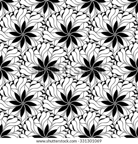 Creative hand-drawn abstract seamless pattern of stylized flowers in black and white colors. Vector illustration. - stock vector