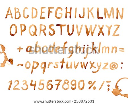 Creative hand drawn coffee stains font for your design. - stock vector