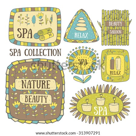 Creative hand drawn doodle spa logo, banner, icon with stones, plants, bamboo, candles, flower, towel, lotion, oil. - stock vector