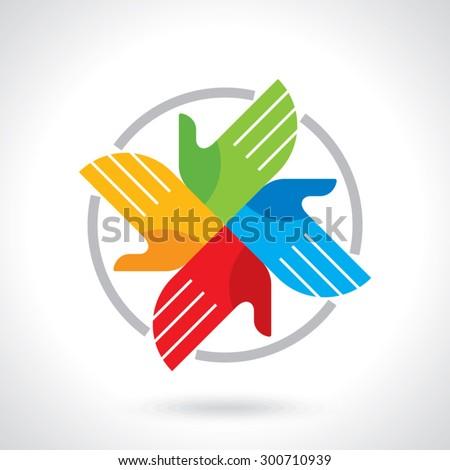 creative hand icon, a teamwork concept - stock vector