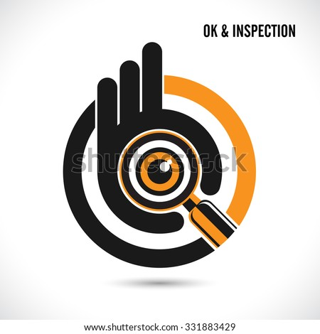 Creative hand with searching and looking for talent.Hand Ok symbol icon.Searching and inspection concept.Vector illustration - stock vector