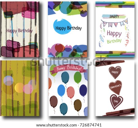Creative Happy Birthday Cards Collection Hand Stock Vector 726874741